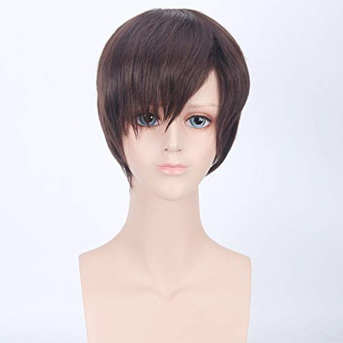 Ataque a las pelucas de Titn Eren Jaeger Corto de fibra sinttica para hombres de alta temperatura Pelo sinttico del Rey Disfraz de cosplay Peluca + gorro de pelucadm2532