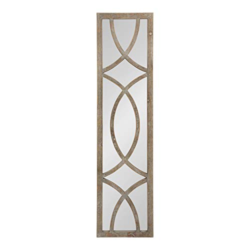 """Kate and Laurel Tolland Decorative Wooden Panel Wall Mirror, 12"""" x 48"""", Rustic Brown, Farmhouse Windowpane Accent Piece"""