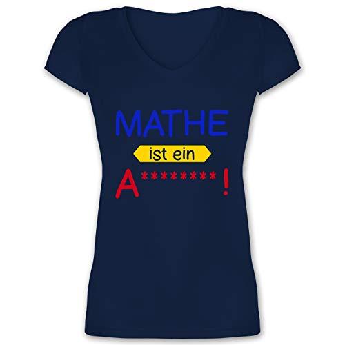 Sprüche - Mathe ist EIN A - 3XL - Dunkelblau - teuflisch - XO1525 - Damen T-Shirt mit V-Ausschnitt