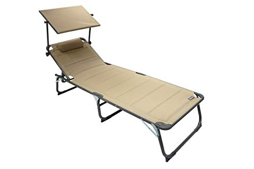 Homecall XXL Aluminium Sun Lounger with Sun Roof Three-Legged Beach bed 200x70 cm Maximum Load 150 kg, Sand textilene, Quick Dry Foam