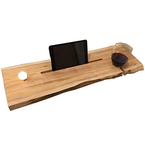 FGDSA Bandeja de bañera para computadora portátil Escritorio balcón Estante de baño para bañera de jardín Estante de Almacenamiento de Madera rústica para baño Inodoro de Granja 100 * 25 * 5 cm (39 *