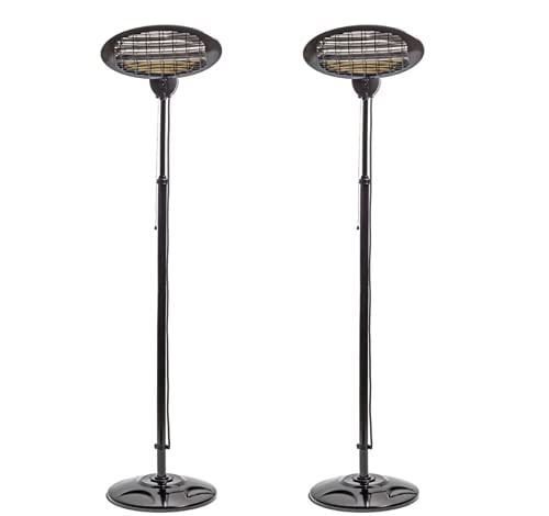 N / A 2KW Free Standing Garden Patio Heaters Outdoor Waterproof Space Electric Heater 3 Heat Settings Suitable for BBQ Party Garage Office Shop Market