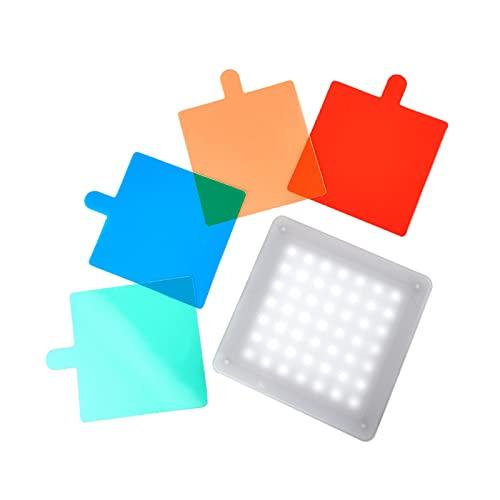 IPOTCH Luz de Video LED USB, con 4 filtros de Color, iluminación de fotografía de Mesa, luz de Relleno de vlog portátil Recargable 6500K