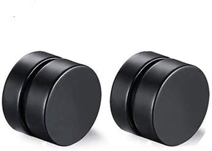 loinhgeo Earrings,Men Fashion Round Stainless Steel Magnetic Clip On No Piercing Ear Stud Earrings Black