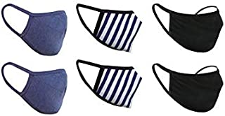 nestroots Washable Reusable Cotton Face Masks with Soft Earloop for Men Women and Kids (Navy Blue, Black and Blue Stripe) - Pack of 6