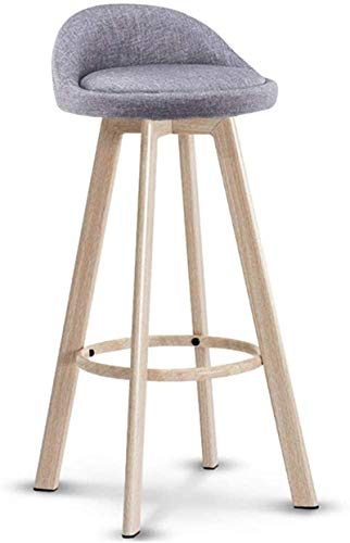 JYV Barstools Imitation High Stoolsoild Wood Design | Linen Sponge Padded Seat | Modern High Chair Kitchen Restaurant Bar (Color : Seat Height 72cm, Size : B)