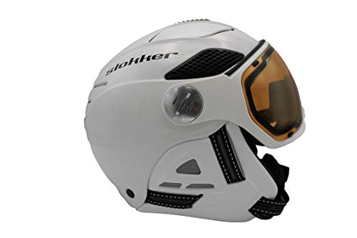 Slokker Raider Free Skihelm mit Polarisierendem Visier White Kopfumfang 58-60cm 2020 Snowboardhelm