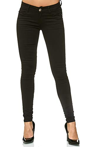 Elara Damen Stretch Hose Push Up Jeans Gummizug Chunkyrayan Y5154 Black 34 (XS)
