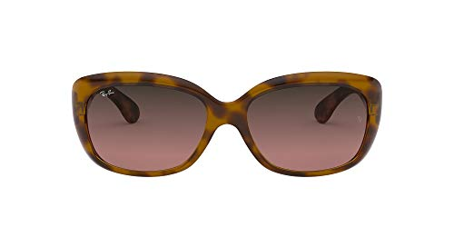 Ray-Ban Women's RB4101F Jackie Ohh Asian Fit Butterfly Sunglasses, Black/Brown Gradient, 58 mm
