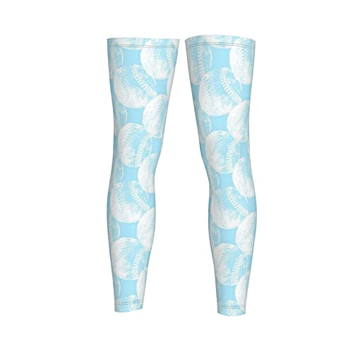 Bolas de béisbol vintage en blanco con fondo azul bebé paquete de 2 mangas de compresión de pierna larga, rodilleras y alivio del dolor para hombres y mujeres