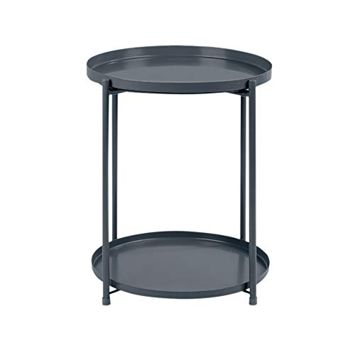 End Table Metal 2-tier Side Table Round Tray Removable Coffee Drink Snack Table Telephone Table Nightstand Beside Table Sofa Table, Grey