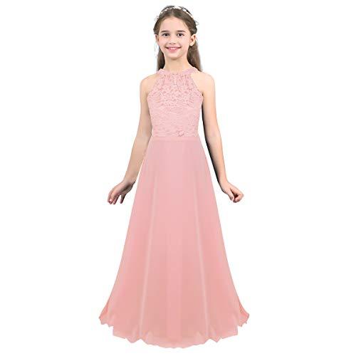 inhzoy Mädchen Prinzessin Kleid Hochzeit festlich Lange Brautjungfern Kleider Partykleid Abendkleid Festkleid Blumenmädchenkleid Gr. 104 116 128 140 152 164 Rosa 8 Jahre