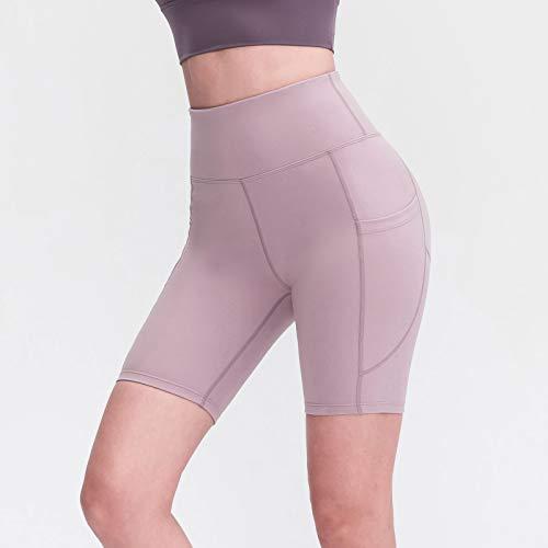 Walmeck Pantalones Cortos de Yoga para Mujer con Bolsillos Medias Deportivas de Cintura Alta Estiramiento Correr Fitness Pantalones de Entrenamiento Gimnasio Ropa Deportiva