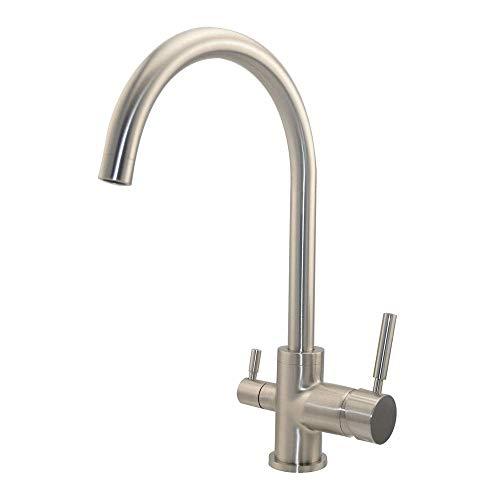 Drei Wege Wasserhahn - Gefiltertes Wasser und Leitungswasser aus nur einem Hahn - Modell: Aqua Classic - Matt - gebürsteter Edelstahl Optik - 3 Wege Armatur