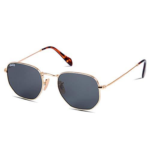 DIKLEY Occhiali da Sole da Uomo e Donna Poligono metallo cornice Vetro lente Vintage Retro Specchiati Protezione UV400 (Oro Telaio Grigio Lente)