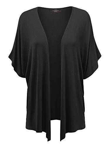 MBJ Womens Short Sleeve Dolman Cardigan XL Black