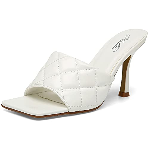 Katliu Women's Square Open Toe Heeled Sandals Stiletto Heeled Mule Sandals Quilted High Heel SandalsWhite