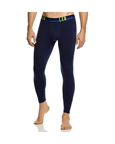 LEO Lange Boxershorts/Leggings für Herren - Herren Unterwäsche - Lange Unterhose für Herren-Blau-XL