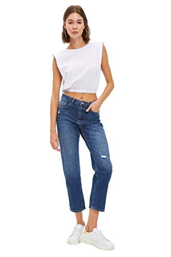 DeFacto Pantalones Vaqueros para Mujer con Pantalones Rectos, Ajustados y Ajustados Tejido de algodón, Uso Informal, Vaqueros Negros para Mujeres