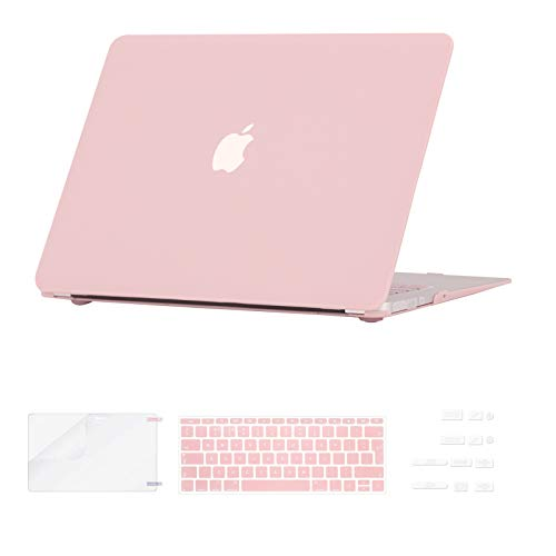 i-Buy Hard Shell Case Cover Compatible with MacBook Air 13 inch A1369 A1466 (2010-2017 Release) + Keyboard Cover + Screen Protector +  Dust Plug - Rose Quartz