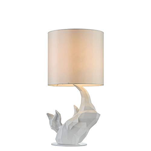 Lampe à poser, lampe de table, lampe de chevet, style Moderne, Art Deco, Armature en polyresine couleur blanc, Abat-jour en tissu couleur blanc, ampoule non incluse, 40 W E14 220V -240V