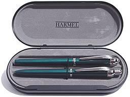 Schreibset - Füllfederhalter und Kugelschreiber in Lack Metallic-Grün