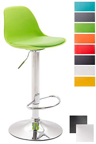 CLP Taburete de Bar Kiel con Estructura de Plástico I Taburete de Cocina Altura Regulable I Taburete Alto con Respaldo & Asiento de PU I Color: Verde, Cromado