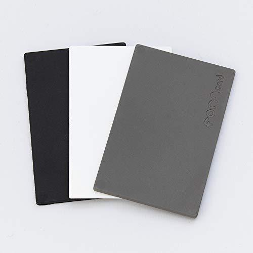 3 FORMcards en colores monocromáticos (negro, blanco y gris)