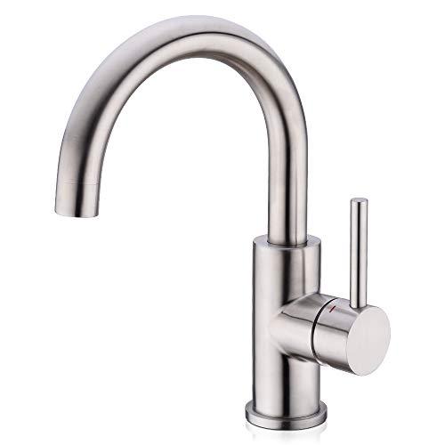 CREA Wasserhahn Küche Armatur Mischbatterie 360° Drehbar Spültischarmatur Waschtischarmatur für Bad Einhebelmischer Klein Küchenarmatur aus Edelstahl