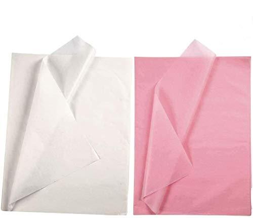 YooKreativ Premium-Qualität Seidenpapier Set, Weiß und Pink, Blatt 50x70 cm. 20 Blätter, Transparentes Seidenpapier zum Basteln und zur Dekoration
