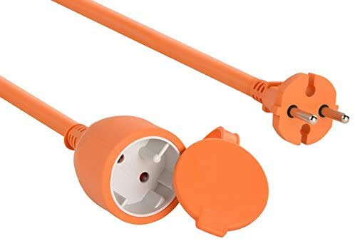 SutMsh Alargador Electrico 30m Cable Alargador Corriente Alargador Corriente para Exteriores Prolongador Electrico de Color Naranja