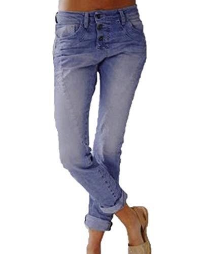 Dames boyfriend jeans met knoopsluiting, soft-fit damesbroek met stretch, relaxte pasvorm