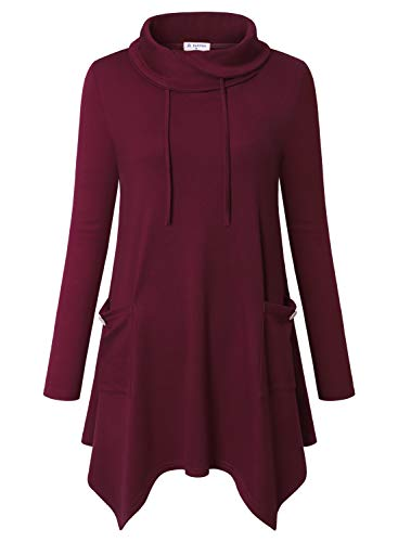 Bulotus Women's Long Sleeve Cowl Neck Asymmetrical Hem Tunic Tops with Pockets Burgundy