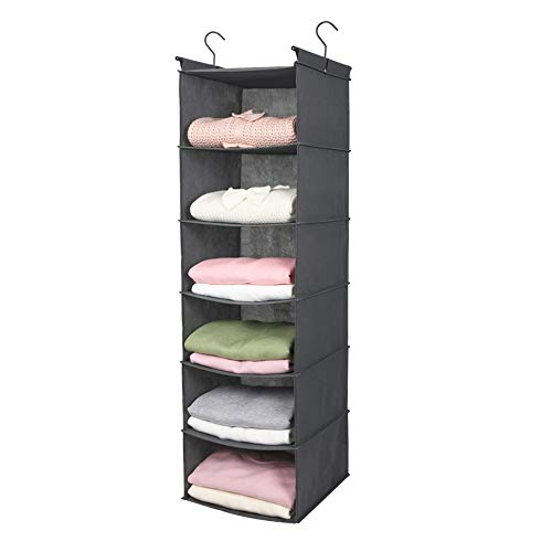 MAX Houser 6 Tier Shelf Hanging Closet Organizer, Cloth Hanging Shelf with 2 Sturdy Hooks for Storage, Foldable (Grey)
