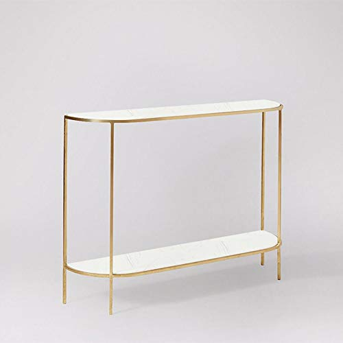 OuPai Table Console Table,Iron Art Hall Cabinet Modern Corridor Living Room Sofa Table Semicircle Against the Wall Side Table Gold/Black 31 × 11 × 31 Inch for Living Room Bedroom (Color : Gold)