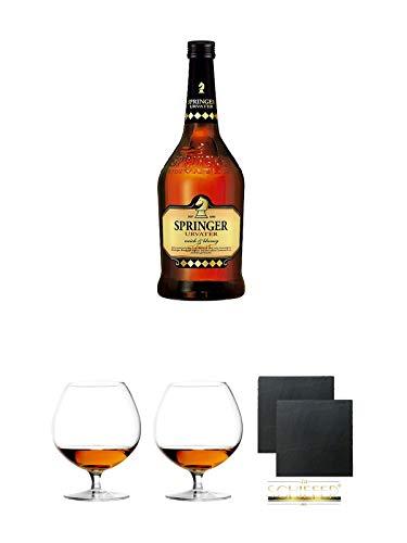 Springer Urvater 0,7 Liter + Cognacglas/Schwenker Stölzle 2 Stück + Schiefer Glasuntersetzer eckig 2 Stück