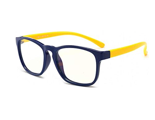 Anti Blue Light Glasses for Kids Computer Glasses,UV Protection Anti Glare Eyeglasses Computer Glasses Video Gaming Glasses for Children (Deepblue-Yellow)