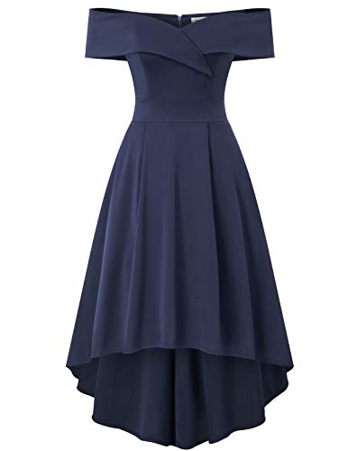 JASAMBAC High Low Dresses for Women Cocktail Party Wedding Guest Off The Shoulder Dress Navy L