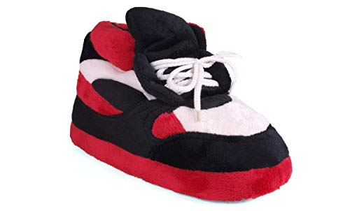1006-3 - Red, Black and White - Large - Happy Feet Sneaker Slippers
