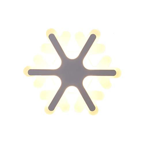 30w Led Nórdico Acrílico Lampara De Pared,Creativo Copo De Nieve Luces-ajustable Iluminación De Pared,Decoración Apliques De Pared Para Dormitorio De Niños Dormitorio-Tricolor claro 30cm(12inch)