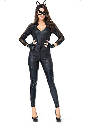 Jiaxin Estilo Mujer Sexy Catwoman Cosplay Disfraz PU Cuero Catsuit Halloween Vestidos Wet Look Mono Juego Adulto Disfraz