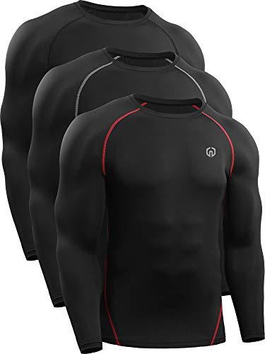 Neleus Men's 3 Pack Workout Compression Long Sleeve Shirts,5035,Black,Black(Grey),Black(Red),US 2XL,EU 3XL