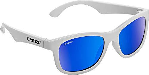 Cressi Kiddo Sunglasses Gafas de Sol para niños, Juventud Unisex, Blanco/Lentes espejadas Azul, 6 + Años