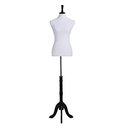 SONGMICS Female Mannequin Torso Body Dress Form with Black Tripod Stand, Medium Size 6-8, 34' 26' 35', Non-Straight Pinnable, Adjustable Height, for Clothing Dress Display White UMDF02WT