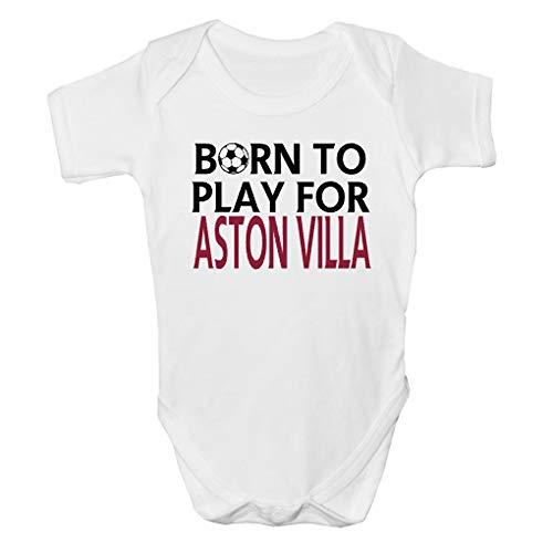 """Shop4TShirts.co.uk Babystrampler mit Aufschrift """"Born To Play For Aston Villa"""", kurzärmelig, Fußball-Babykleidung, 24 Monate Gr. 0-3 Monate, Schwarz"""