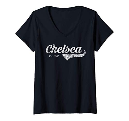 Damen Retro Fußball Trikot Chelsea Top Blues London Distressed T-Shirt mit V-Ausschnitt