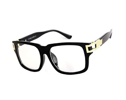 Gazelle Vandal Luxury Square Sunglasses w/Clear Lenses (Black & Gold Frame, Clear Lenses)