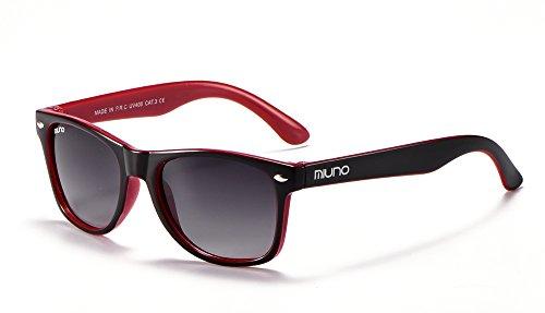 Miuno - 2688 - Occhiali da sole per bambini e bambine, con custodia Nero/rosso Taglia Unica
