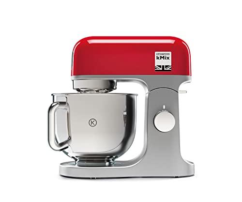 Kenwood kMix KMX750ARD - Robot de Cocina Multifunción, 1000 W, Bol Metálico de 5 L con Asa, Gancho para Amasar, Varillas, Mezclado K, Acero Inoxidable, 6 Velocidades, Color Rojo