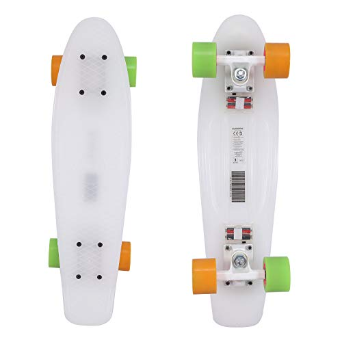 Hudora Skateboard 55,9 cm Komplett-Skateboard ABEC-7 Mini Cruiser mit LED Licht Up Deck für Kinder Jungen Jugendliche Anfänger